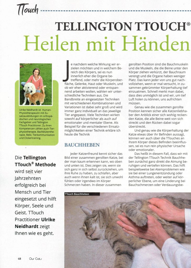 Leseprobe Artikel 2 über TTouch bei Katzen